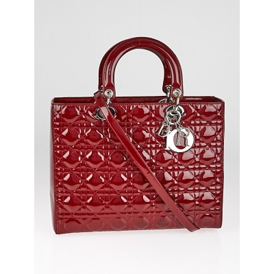 Christian Dior Red Cannage Quilted Patent Leather Large Lady Dior Tote Bag