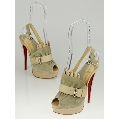 Christian Louboutin Beige/Grey Leather and Suede Jem 150 Platform Sandals Size 7.5/38