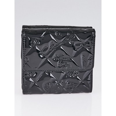 Chanel Black Patent Leather Lucky Symbols Compact Wallet