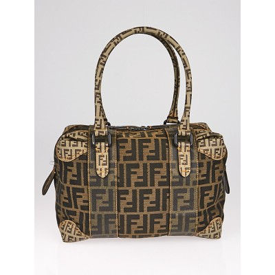 Fendi Tobacco Zucca Canvas Boston Bag 8BL095