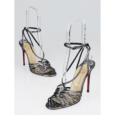 Christian Louboutin Silver Suede Beverly Mini Square 100 Strappy Sandals Size 8/38.5