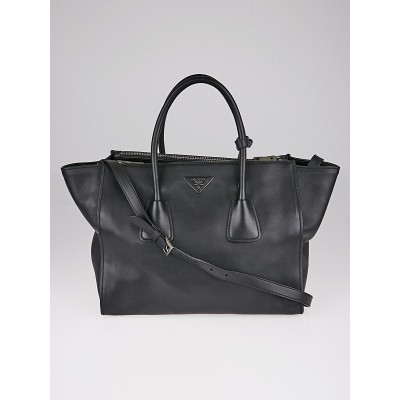Prada Black City Calf Leather Twin Pocket Double Handle Tote Bag BN2762