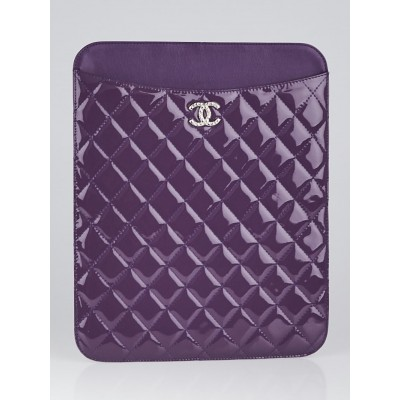 Chanel Purple Quilted Patent Leather Brilliant iPad Case