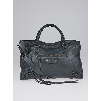Balenciaga Anthracite Lambskin Leather Motorcycle City Bag