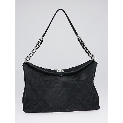 Chanel Black Quilted Suede French Riviera Hobo Shoulder Bag