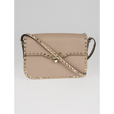 Valentino Light Grey Leather Rockstud Flap Bag