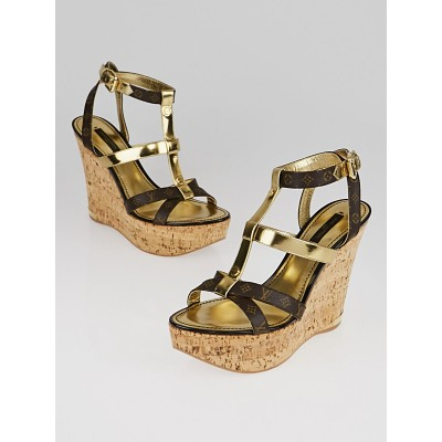 Louis Vuitton Monogram Canvas and Gold Leather Open-Toe Wedge Sandals Size 8/38.5