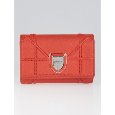 Christian Dior Red Calfskin Leather Diorama Compact Wallet
