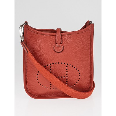 Hermes 16cm Brique Clemence Leather Evelyne TPM Bag