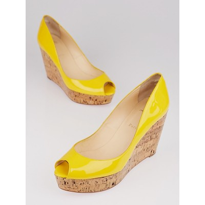 Christian Louboutin Yellow Patent Leather and Cork Une Plume 100 Wedges Size 9.5/40