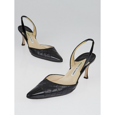 Manolo Blahnik Black Quilted Leather Cap-Toe Irie Slingback Pumps Size 9/39.5
