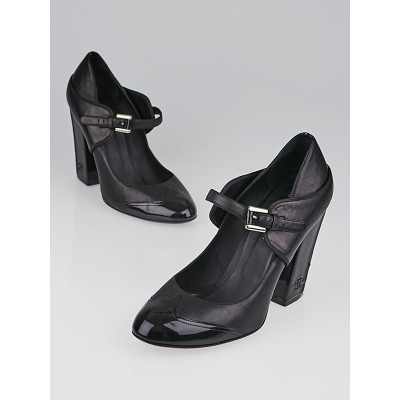 Chanel Black Leather and Patent Leather Cap Toe Mary-Jane Heels Size 10.5/41