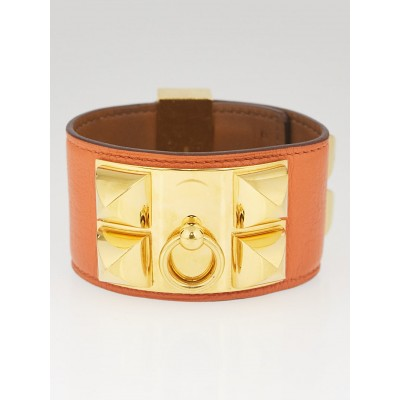 Hermes Orange Swift Leather Gold Plated Collier de Chien Cuff Bracelet Size S
