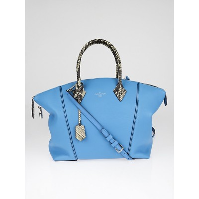 Louis Vuitton Light Blue Veau Cachemire Calfskin Leather and Python Soft Lockit MM Bag
