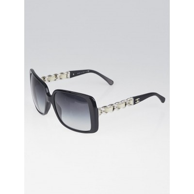 Chanel Black Square Frame White Chain-Link Sunglasses-5208