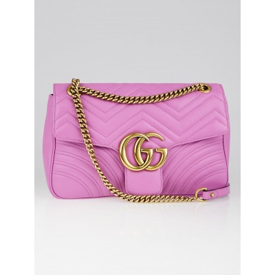 Gucci Pink Quilted Leather Marmont Metalasse Shoulder Bag