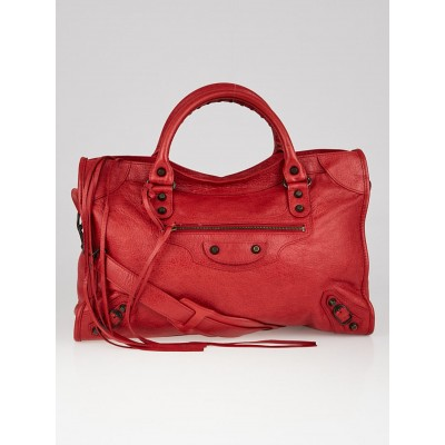 Balenciaga Coquelicot Lambskin Leather Motorcycle City Bag