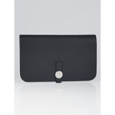 Hermes Black Togo Leather Palladium Plated Dogon Combined Wallet