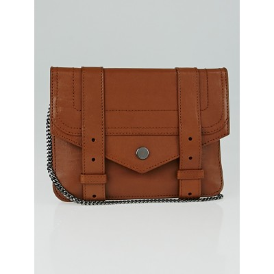 Proenza Schouler Brown Leather PS1 Large Wallet on a Chain Bag