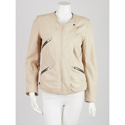 Isabel Marant Off-White Lambskin Leather Motorcycle Jacket Size 6/38