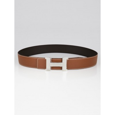 Hermes 42mm Gold Epsom Leather/Ebene Swift Leather Palladium Plated Constance H Belt Size 100