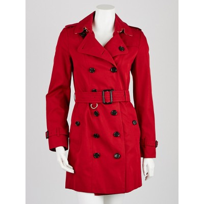 Burberry London Red Cotton Mid-Length Sandringham Trench Coat Size 4