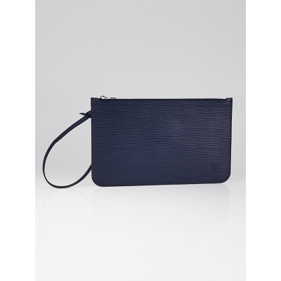 Louis Vuitton Indigo Epi Neverfull Pochette Zippered Clutch Bag