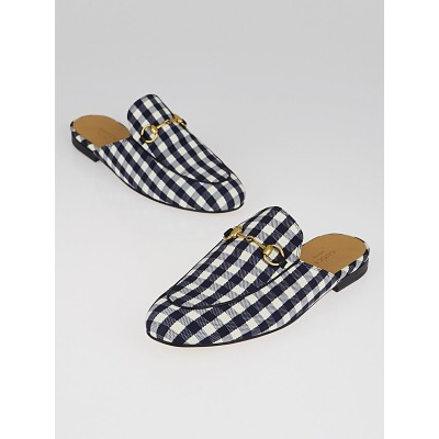 Gucci Blue/White Gingham Check Print Fabric Princetown Slippers Size 7/37.5