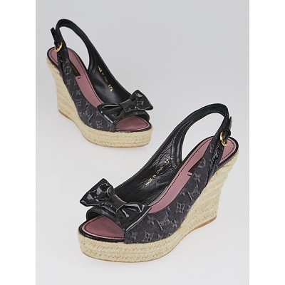 Louis Vuitton Black Monogram Denim Espadrille Bow Wedges Size 7/37.5
