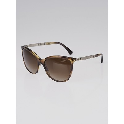Chanel Dark Tortoise Acetate/Metal Frame Butterfly Summer Sunglasses - 5352