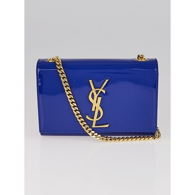 Yves Saint Laurent Blue Patent Leather Small Monogram Crossbody Bag
