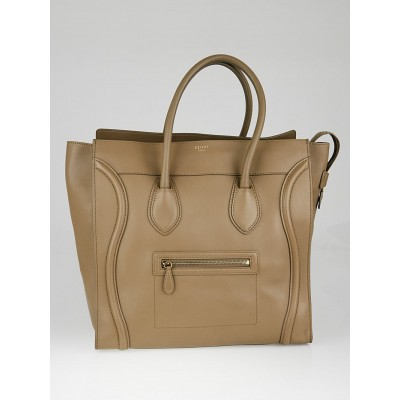 Celine Taupe Smooth Calfskin Leather Medium Luggage Tote Bag