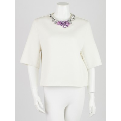 3.1 Phillip Lim White Polyester Jeweled Neck Top Size 2
