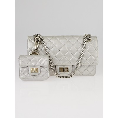 Chanel Silver 2.55 Reissue Quilted Classic Calfskin Leather 225 Flap Bag w/Mini Pouch