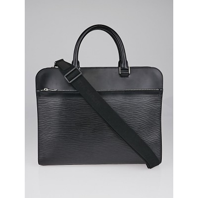 Louis Vuitton Black Epi Leather Bassano MM Briefcase Bag