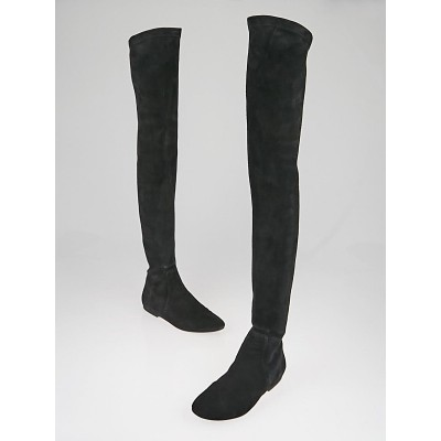 Isabel Marant Etoile Black Suede Brenna Over-The-Knee Boot Size 6.5/37