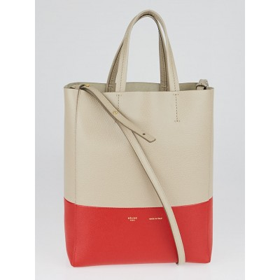 Celine Grey/Red Grained Calfskin Small Bi-Cabas Vertical Bag