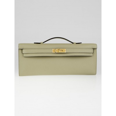 Hermes Sauge Swift Leather Gold Plated Kelly Cut Bag