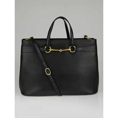 Gucci Black Leather Bright Bit Tote Bag