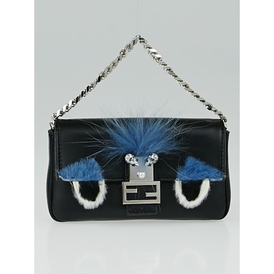 Fendi Black Nappa Leather and Fox Fur Micro Buggie Baguette Bag 8M0354