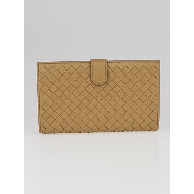 Bottega Veneta Beige Intrecciato Woven Nappa Leather Continental Wallet