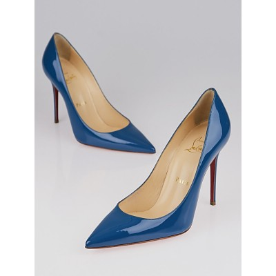Christian Louboutin Blue Patent Leather Pointed Toe 100 Pumps Size 6.5/37