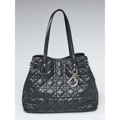 Christian Dior Black Cannage Quilted Coated Canvas Medium Tote Bag