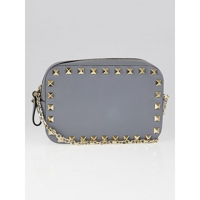Valentino Grey Leather Rockstud Small Crossbody Camera Bag