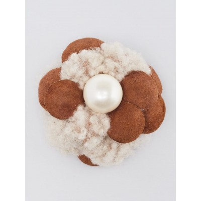 Chanel Brown Leather and Shearling Mini Camellia Brooch