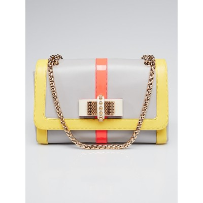Christian Louboutin Grey Tricolor Leather Medium Sweet Charity Bag