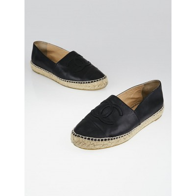 Chanel Black Leather CC Espadrille Flats Size 7.5/38