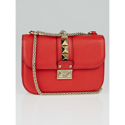 Valentino Red Leather Rockstud Lock Flap Bag