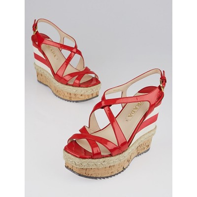 Prada Red Patent Leather and Cork Espadrille Wedges Size 6.5/37