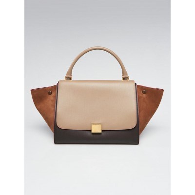 Celine Brown Tricolor Leather and Nubuck Medium Trapeze Bag